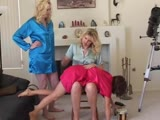 Blondes spanking poor brunette girl