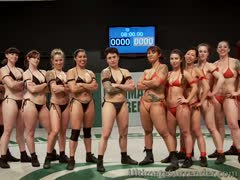 6 on 6 brawl of naked but tough MMA girls