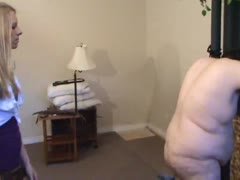 Fat guy gets whipped by a blonde prefect