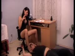 Smoking dominant female face trampling her co-worker