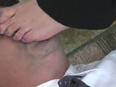 Beautiful office mistress stilettos licking and trampling
