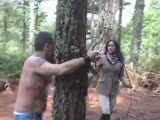 Extreme and unfogiving bull whipping outdoors