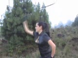 Diosa in leather boots outdoor bull whipping