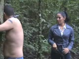 Unforgiving bull whipping outdoors to an immobilized man
