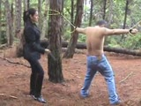 Outdoor hardcore bull whipping by a dominant girl