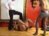 Painfull ball kicking administered by two ruthless domina