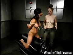 Kinky lezdom playing with her victim