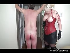 Severe and painful spanking from a busty dominatrix