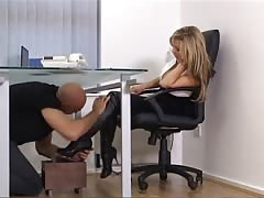 Shoe cleaner in the blonde mistress office