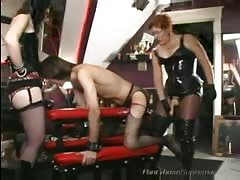 Slave fucked by two BDSM  mistress