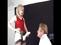 New strapon slave for mature blonde