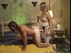 Male slave pegged by his mistress