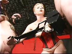 Two helpless fat slaves punished by mistress through BDSM
