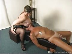 He licks pussy and smothered with mistress big tits
