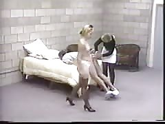 Merciless whipping and pegging from two evil blondes