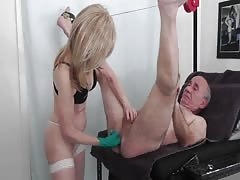Old kinky couple strapon session