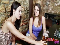Threesome pegging in the bar