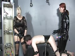 Strapon punishment for him from two wicked dommes