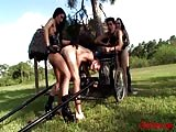 Rough outdoor pegging party