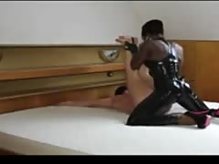 Hardcore pegging from ebony mistress