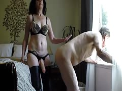 Pegging her old husband in doggy style