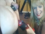 Blonde MILF enjoys playing bondage slave's asshole