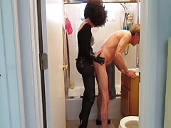 Strapon fetish wife pegging naked husband