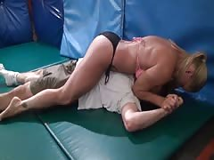 Wrestled man on the floor